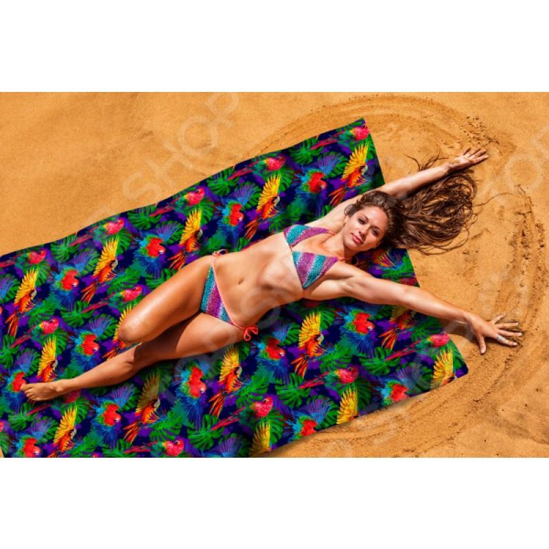 Покрывало пляжное Сирень «Яркие попугаи»
