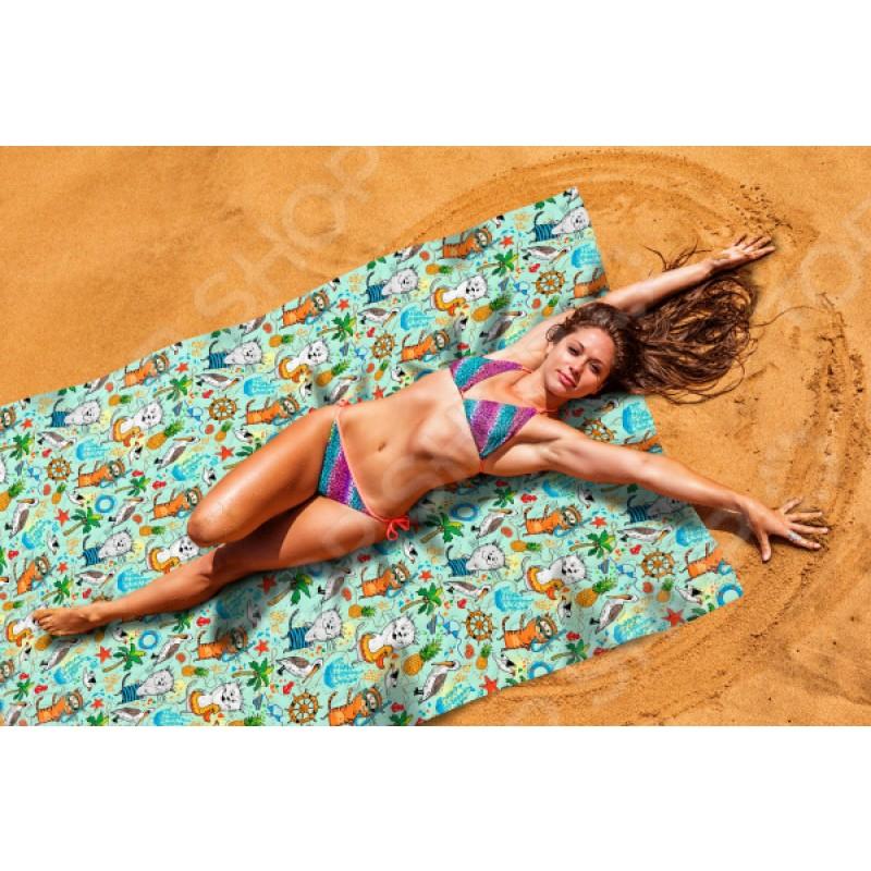 Покрывало пляжное Сирень «Веселые коты»