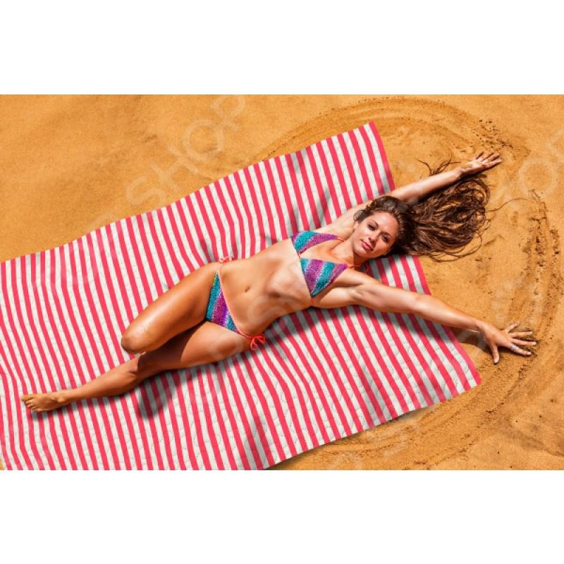 Покрывало пляжное Сирень «Красные полосы»