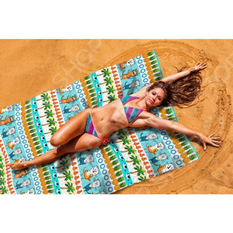 Покрывало пляжное Сирень «Коты на пляже»